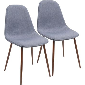 Pebble Mid-Century Modern Dining / Accent Chairs, Walnut & Blue (Set of 2)