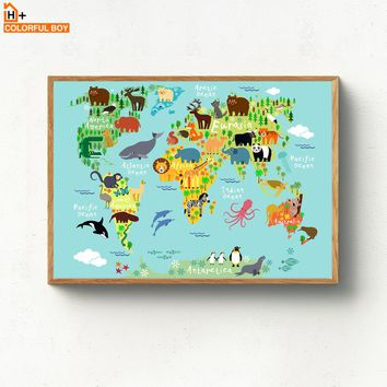 Kawaii Cartoon World Map Animals Canvas Painting Wall Art Nordic Posters And Prints Children Wall Pictures Baby Kids Room Decor