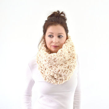 Knit Chunky Woman Lace Cowl Scarf   The Florence