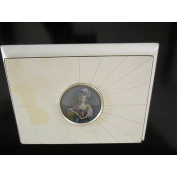 Victorian Style White Lacquered Italian Musical Jewelry Box Paper Portrait Medallion