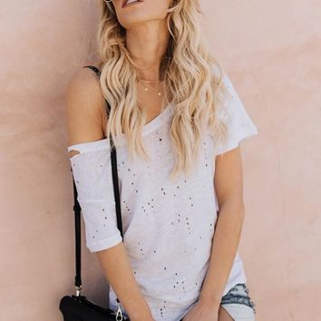 White Cut Out Asymmetric Shoulder Going out Casual T-Shirt