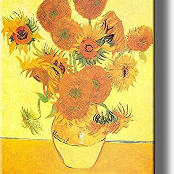 Vase and Fifteen Sunflowers Painting by Vincent van Gogh Picture on Stretched Canvas, Wall Art Decor, Ready to Hang!