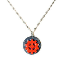 Orange Industrial Necklace - Resin Gear Pendant