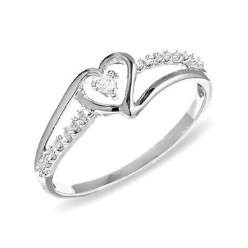 Heart Shaped Diamond Accent Ring In 10k From Zales Rings