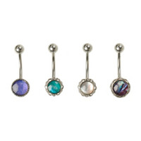 14G Steel Opal Stone Filigree Navel Barbell 4 Pack