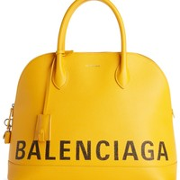 Balenciaga Medium Logo Leather Satchel with Water-Repellent Coat | Nordstrom