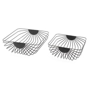 A10729 Set Of 2 Wired Trays Black Black