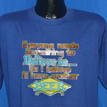 80s I Believe I'll Have Another Beer Iron On t-shirt Large