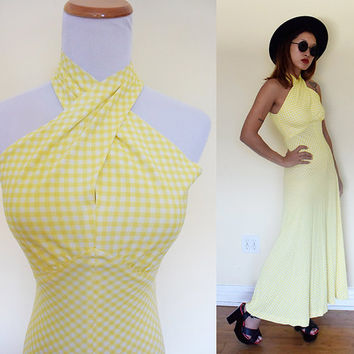 Vintage 70's houndstooth criss cross halter maxi day dress hippie boho bohemian yellow white party dress cocktail grunge  size Small S