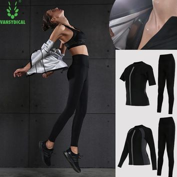 Vansydical Hot Sweat Sports Suits for Women Fitness Body Shapers Lose Weight Running Yoga Sets Jogging Workout Sportswear 2pcs