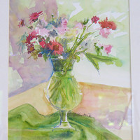 Art Painting Still Life with Red and Pink Flowers in Watercolor