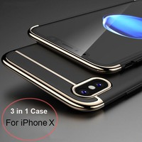 For iPhone X Case 3 in 1 Ultra Slim Luxury PC Hard Plating Shell Shockproof
