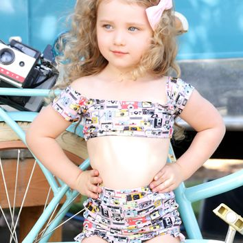 Child's Pink Camera Print Vintage Swimsuit