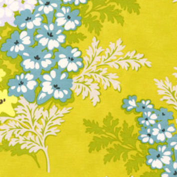 Nicey Jane - Picnic Bouquet - Heather Bailey - Free Spirit Fabrics - Designer Cotton Quilt Fabric - Floral Flowers Yellow Aqua Green