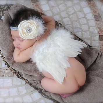 Newborn Photography Props Newborn Baby Girl Clothes Skirt Soft Sets Lace Head wear Angel Wing Headbands Photo Prop