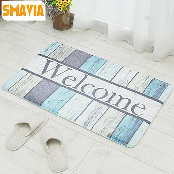 40x60cm Welcome's Words Floor Rugs Coral Fleece No-Slip Kitchen soft Area Mat