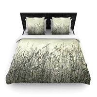 "Iris Lehnhardt ""Summer Grasses"" Neutral Gray Woven Duvet Cover"