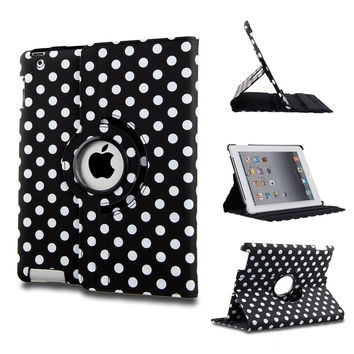 ELEOPTION Auto Sleep/Wake Function 360 Degree Rotating Smart Case Cover for 7.9 inch Apple iPad Mini/iPad Mini 2 Mini 3 with Retina with a Stylus as a Gift (Polka Dot Black)