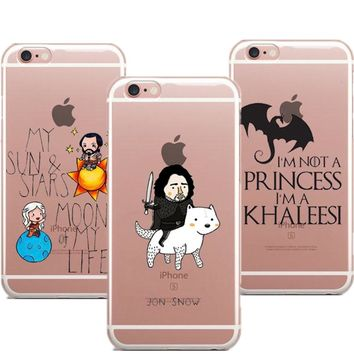 Clear soft Phone Cases Game Of Throne Not Princess I'm Khaleesi  jon snow Cover For iphone 8 8Plus 7 7Plus 6 6S Plus 5 5s SE