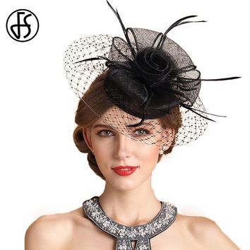 FS Elegant Ladies Black Beige White Flower Gauze Pillbox Hat Bride Banquet Wedding Party Fedora Chapeu Linen Sinamary Hats