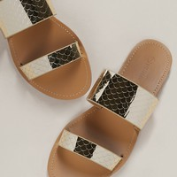 Metallic Mermaid Scale Double Band Slide Sandals