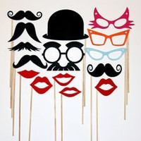 Best Party Photo Booth Props Set - 15 Piece Mustache on a stick Wedding Party Props - Photobooth Props