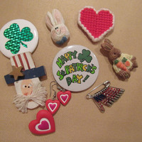 Lot of Miscellaneous Holiday Brooches St. Patricks Valentines Easter 4th of July Pins