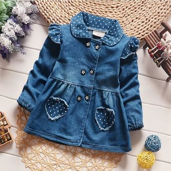 BibiCola Girls Denim Jackets Lovely Heart Protect Dot Baby Outerwear Jackets For Girls Long Sleeve Girls Jeans Jackets Clothes