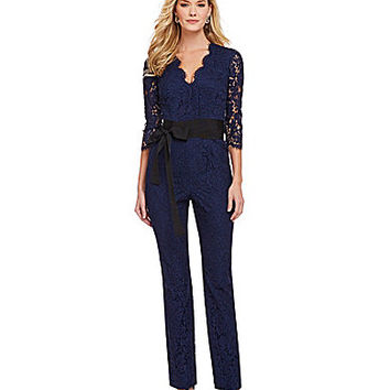Donna Morgan Faux-Wrap Floral Lace Jumpsuit - Indigo