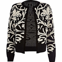 BLACK BAROQUE JACQUARD CARDIGAN
