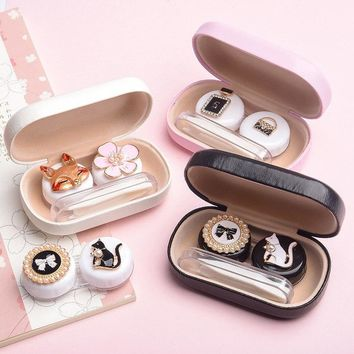 Contact lens case Glasses Lens Container box female lovely cute double box contact lenses case 2018  Christmas gift