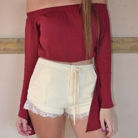 Burgundy Off Shoulder Bell Sleeve Crop Top