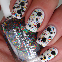 """Nail polish - """"Abstract canvas"""" black and multi coloured glitter - new 12ml bottle"""