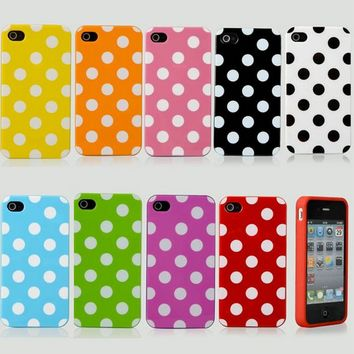 Polka Dots Soft Silicone Case For iPhone 4/4S