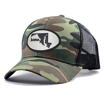 Homeland Tees Men's Maryland Home State Army Camo Trucker Hat - Black