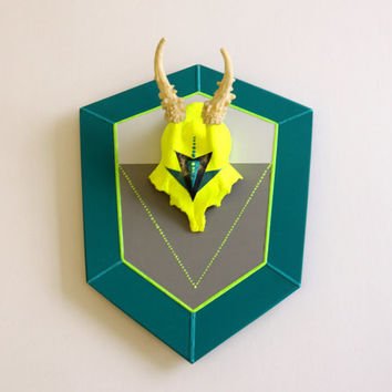 NEON YELLOW & TEAL grey turquoise diamond aztec triangle arrow painted mount deer skull and antlers horns - taxidermy unusual animal decor