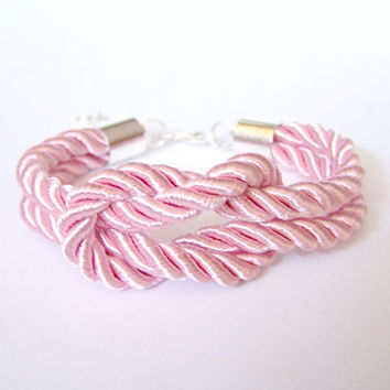 Nautical Rope Bracelet, Pastel Pink Square Knot Bracelet, Silk Rope Bridesmaid Bracelet