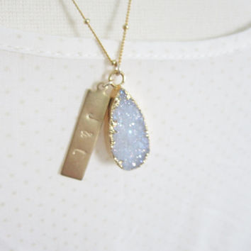 Druzy pendant with personalized brass bar on satellite chain, modern personalized jewelry PREORDER