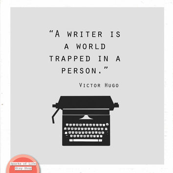Square digital download quote print, Writer gift, printable, typewriter, Writer is a world trapped in a person, Victor Hugo, office wall art