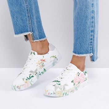 New Look All Over Floral Lace Up Trainer at asos.com