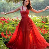 Beautiful A-line red Chiffon 2013 spring long prom dresses from Sweet17girls
