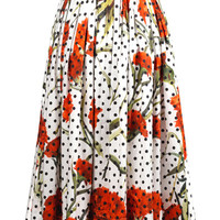 Carnation and polka-dot print skirt