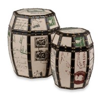 Vintage Paris Postcard 2-Piece Storage Drum Set