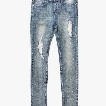 Paint Splatter Denim Jeans in Medium Blue