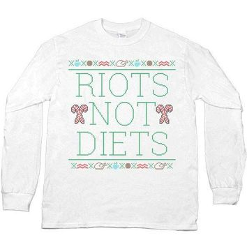 Riots Not Diets Cross-Stitch -- Unisex Long-Sleeve