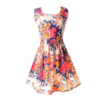 Hee Grand Women's Casual Summer Fit and Flare Floral Sleeveless Dress Chinese XXL Pinkflower