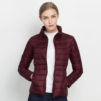 New Arrival 20 Colors Size S-3XL Spring Autumn Women Fashion Ultra Light Jacket Soft Warm Stand Collar Thin Jacket XXXL