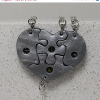 Friendship Jewelry Set of 4 Necklaces with Suspended Swarovski Crystals Made To Order Polymer Clay