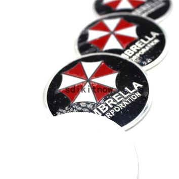 4pcs New UMBRELLA CORPORATION Resident Evil Car Wheel Hub Caps Cover Rim Sticker Reflective Badge Fit Styling