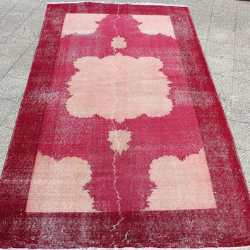 Turkish vintage rug pink and red colors  with empty medallion